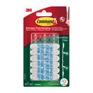 Image of 3M Command Clear & white Plastic Adhesive clip (H)13mm (W)98mm Pack of 20