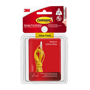 3M Command White Plastic Hook (H)75mm (W)109mm  Pack of 6