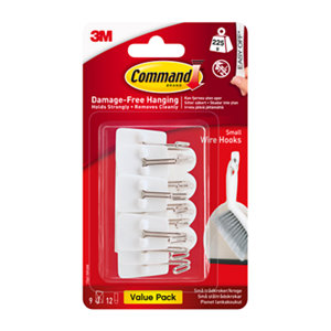 Image of 3M Command Bright Chrome & White Frosted effect Plastic Coat & hat Hook (H)41mm (W)19mm