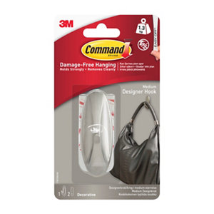 3M Command Frosted effect Metal Coat & hat Hook (H)17.5mm (W)9.8mm