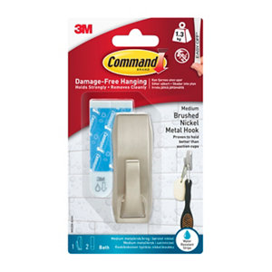 3M Command Nickel effect Metal Hook (H)80mm (W)98mm (Max. Weight)0.45kg