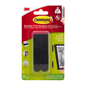 Image of 3M Command Black Plastic Large Single Picture hanging Adhesive strip (H)92.08mm (W)12mm (Max. Weight)7.2kg Set of 8