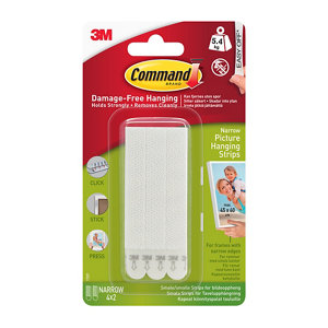 Image of 3M Command White Foam Picture hanging Adhesive strip (H)93mm (W)98mm (Max. Weight)5.4kg Pack of 4