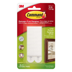 Image of 3M Command White Foam Picture hanging Adhesive strip (H)93mm (W)98mm (Max. Weight)7.2kg Pack of 4