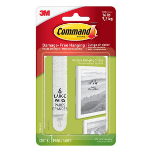 3M Command White Plastic Large Single Picture hanging Adhesive strip (H)92.08mm (W)12mm (Max. Weight)7.2kg  Set of 12