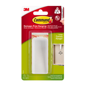 3M Command White Plastic Large Single Picture hanging Canvas hanger (H)36.83mm (W)85mm (Max. Weight)1.3kg