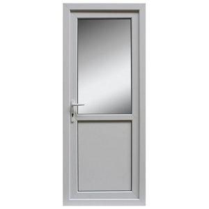 Frosted Glazed White uPVC RH External Back Door set  (H)2055mm (W)840mm