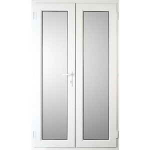 Image of Weston 1 Lite Glazed White uPVC External French Door set (H)2055mm (W)1190mm