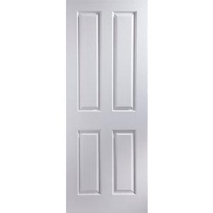 4 panel Pre-painted White Woodgrain effect LH & RH Internal Door  (H)1981mm (W)686mm
