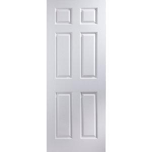 6 panel Primed White Woodgrain effect LH & RH Internal Door  (H)1981mm (W)838mm (T)35mm