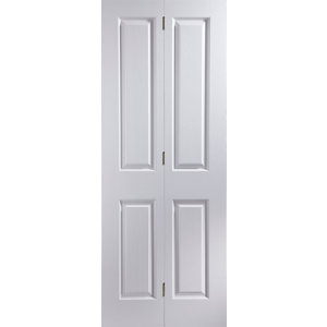 Image of 4 panel Primed White Woodgrain effect Internal Bi-fold Door set (H)1950mm (W)750mm