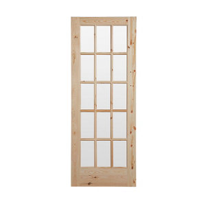 Image of 15 Lite Glazed Knotty pine LH & RH Internal Door (H)1981mm (W)762mm