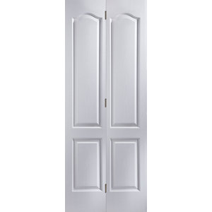 Image of 4 panel Primed White Woodgrain effect Internal Bi-fold Door set (H)1950mm (W)595mm