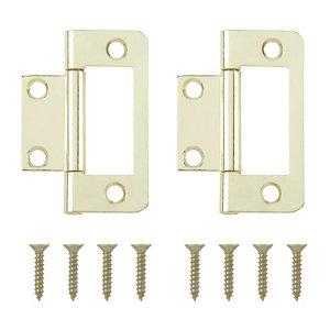 Brass-plated Metal Flush Door hinge (L)50mm NO95  Pack of 2