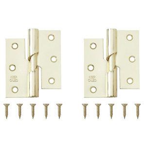 Image of Brass-plated Metal Butt Door hinge (L)75mm Pack of 2
