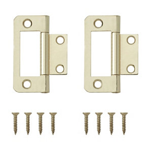 Image of Brass-plated Metal Flush Door hinge (L)50mm Pack of 8