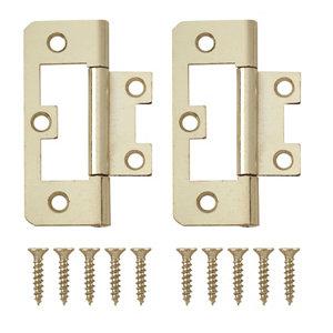 Image of Brass-plated Metal Flush Door hinge (L)65mm Pack of 8