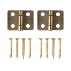 Image of Brass-plated Metal Butt Door hinge (L)13mm Pack of 2