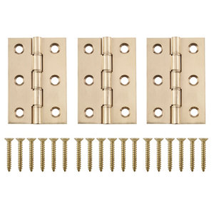 Image of Brass-plated Metal Butt Door hinge (L)75mm Pack of 3