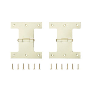Image of Brass-plated Metal Parliament Door hinge (L)100mm Pack of 2