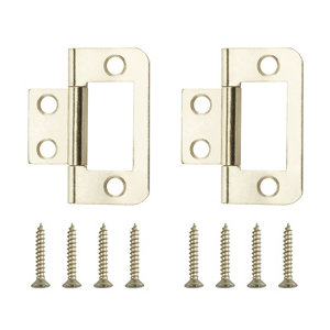 Image of Brass-plated Metal Flush Door hinge (L)38mm Pack of 2