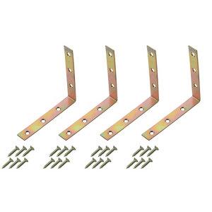 Image of Yellow Zinc-plated Mild steel Corner bracket (L)100mm Pack of 4