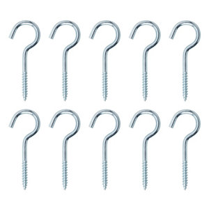 Zinc-plated Extra large Cup hook (L)80mm  Pack of 10