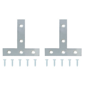 Zinc-plated Steel Tee plate (L)75mm (W)75mm (T)1.4mm  Pack of 2