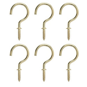 Image of Brass-plated Extra large Cup hook (L)55mm Pack of 6