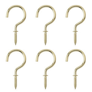 Image of Brass-plated Large Cup hook (L)46.5mm Pack of 6