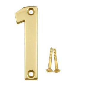 Image of Polished Brass effect Metal House number 1 (H)75mm (W)20mm