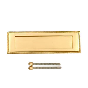 Image of Brass effect Metal Letter plate (H)75mm (W)250mm