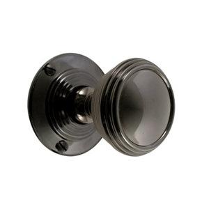 Image of Black Iridium effect Brass Round Door knob (Dia)55.66mm Pair