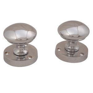 Image of Polished Chrome effect Zamac Round Door knob (Dia)50.5mm Pair