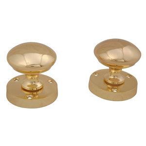 Image of Brass effect Zamac Round Door knob (Dia)53mm Pair