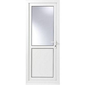 Glazed White uPVC LH External Back Door set  (H)2055mm (W)840mm