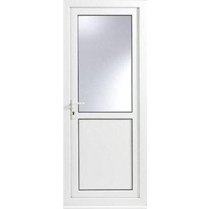 Glazed White uPVC RH External Back Door set  (H)2055mm (W)840mm