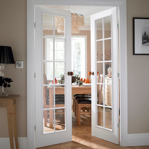 Image of 10 panel 10 Lite Clear Glazed Primed Internal French French door set (H)1981mm (W)1168mm