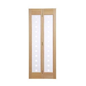 2 panel 2 Lite Frosted Glazed Clear pine Internal Bi-fold Door set  (H)1946mm (W)750mm