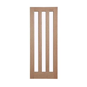 Vertical 3 panel Glazed Oak veneer LH & RH Internal Door  (H)1981mm (W)686mm