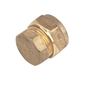Plumbsure Brass Compression Stop end (Dia)15mm  Pack of 10