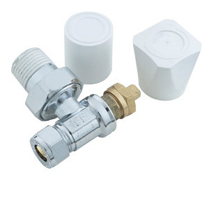 Plumbsure Chrome effect Angled Radiator valve (Dia)10mm