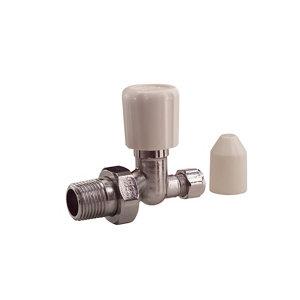 Plumbsure White chrome effect Straight Radiator valve (Dia)15mm