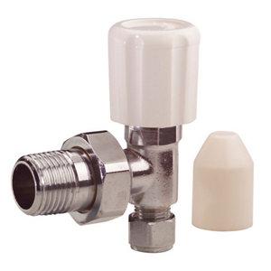 Plumbsure Chrome effect Angled Radiator valve (Dia)8mm