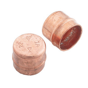 Image of Copper Solder ring Stop end (Dia)22mm Pack of 2