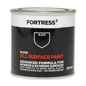 Image of Fortress Black Gloss Multi-surface paint 250ml