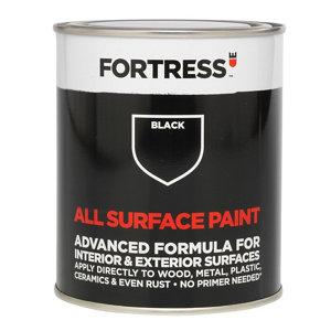 Fortress Black Satin Multi-surface paint  250ml