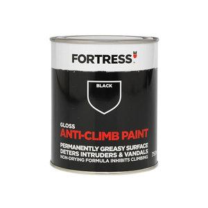 Image of Fortress Black Gloss Anti-climb paint 750ml