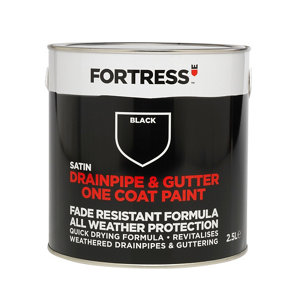 Image of Fortress Black Satin Drainpipe & gutter paint 2500ml