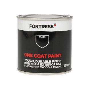 Fortress One coat Black Matt Metal & wood paint  0.25L
